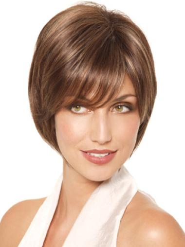 Affordable Brown Monofilament Straight Synthetic Short Wigs