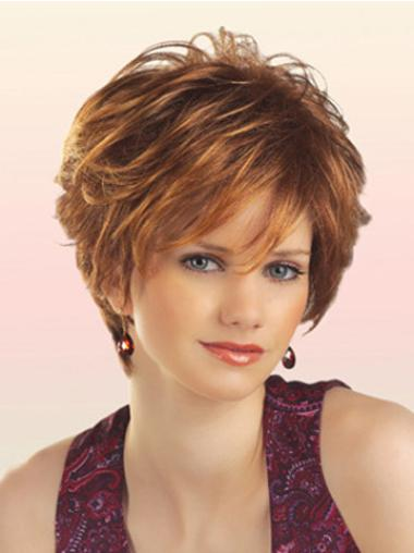 Sassy Auburn Capless Curly Synthetic Short Wigs