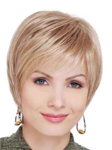 Designed Brown Lace Front Straight Synthetic Short Wigs