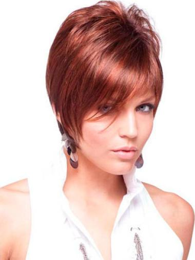 Quality Red Capless Straight Remy Human Hair Short Wigs