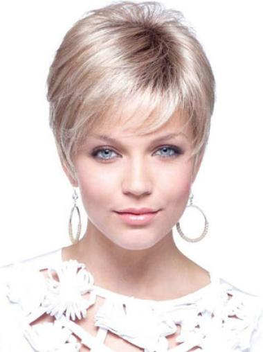 Short Blonde Synthetic Cancer Wigs