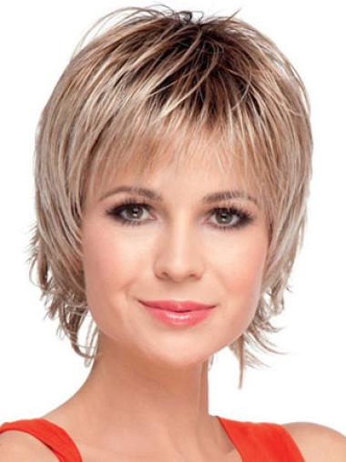 Versatility Blonde Capless Straight Synthetic Short Wigs