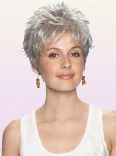 Comfortable Grey Capless Curly Synthetic Short Wigs