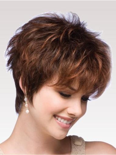 Beautiful Auburn Capless Wavy Synthetic Short Wigs