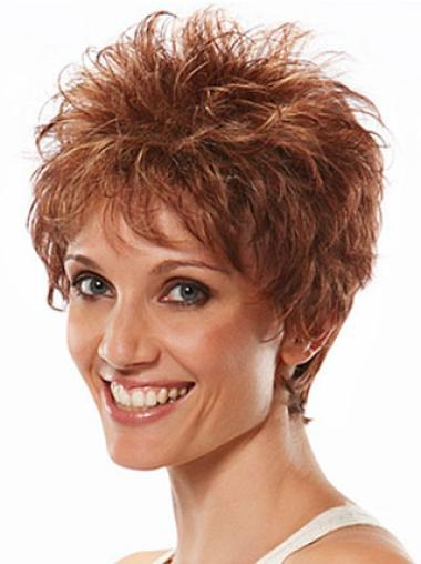 Fashion Auburn Capless Wavy Synthetic Short Wigs