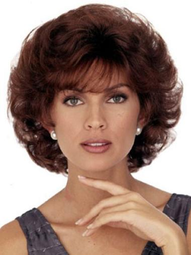 Ideal Auburn Capless Curly Synthetic Short Wigs