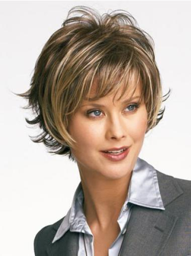Designed Blonde Capless Straight Synthetic Short Wigs