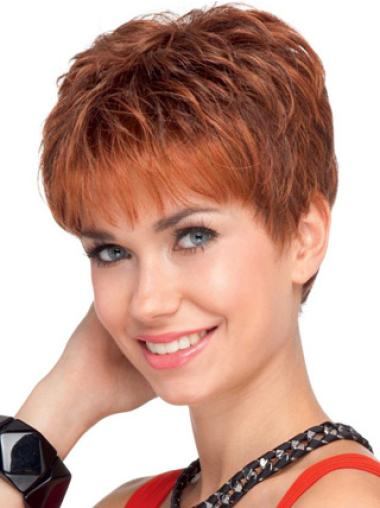 Short Wavy Lace Front Red Human Hair Cancer Wigs