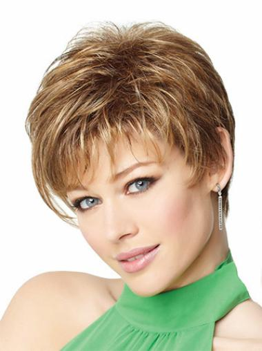 Beautiful Monofilament Blonde Straight Synthetic Short Wigs