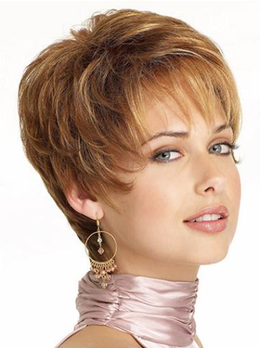 Hairstyles Lace Front Brown Wavy Synthetic Short Wigs