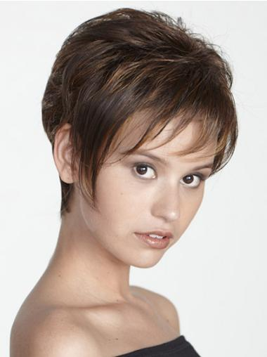 Affordable Capless Brown Straight Synthetic Short Wigs