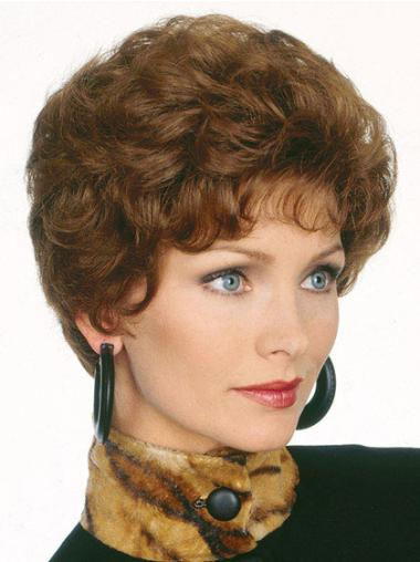 Fabulous Capless Brown Wavy Synthetic Short Wigs