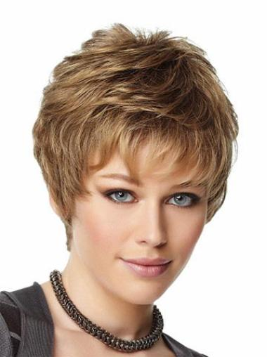 Flexibility Capless Blonde Straight Synthetic Short Wigs