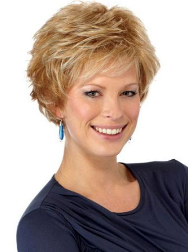 Great Capless Auburn Wavy Synthetic Short Wigs