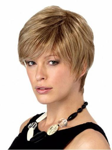 Comfortable Capless Blonde Straight Synthetic Short Wigs