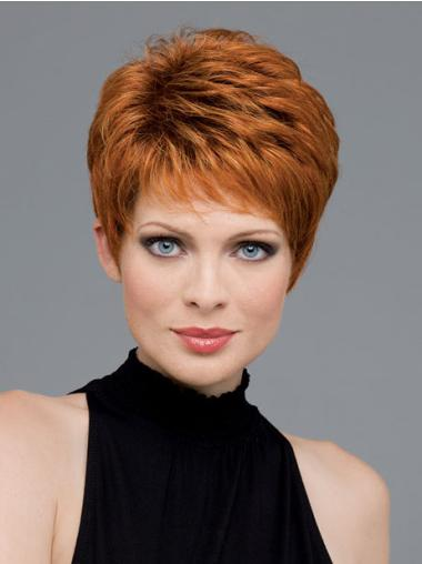 Beautiful Monofilament Auburn Wavy Synthetic Short Wigs