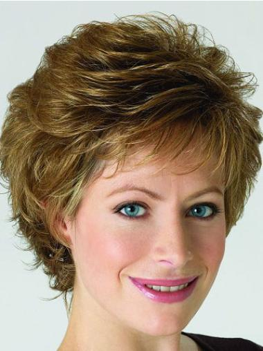 High Quality Lace Front Blonde Curly Synthetic Short Wigs