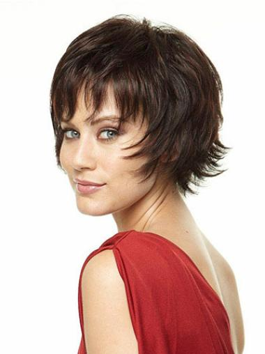 Beautiful Capless Brown Straight Synthetic Short Wigs