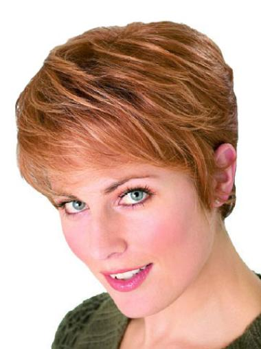 Modern Capless Auburn Straight Synthetic Short Wigs
