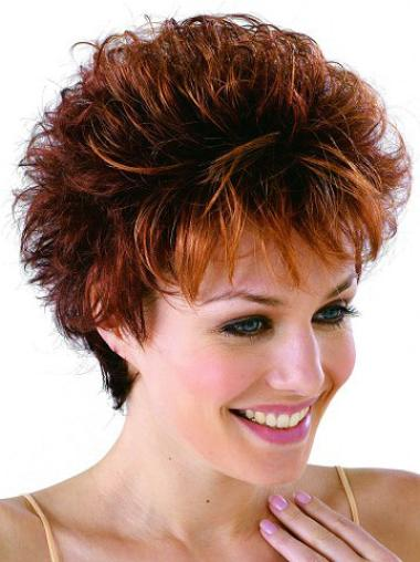 Modern Monofilament Auburn Wavy Synthetic Short Wigs