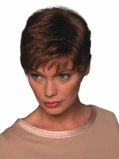 Auburn Trendy Capless Straight Synthetic Short Wigs