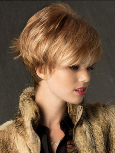 Blonde Flexibility Capless Straight Synthetic Short Wigs