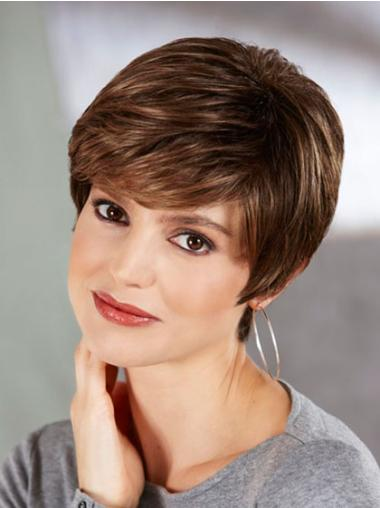 Brown Comfortable Capless Straight Synthetic Short Wigs