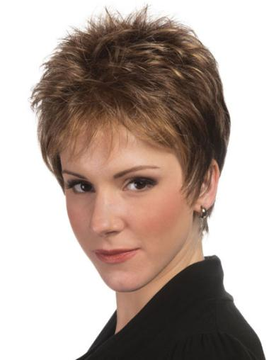 Brown Ideal Capless Straight Synthetic Short Wigs