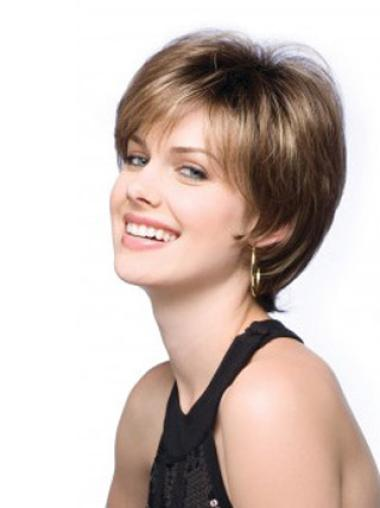 Brown Beautiful Lace Front Straight Synthetic Short Wigs