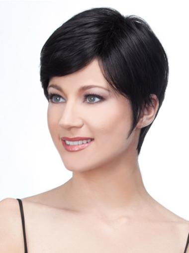 Black Fabulous Lace Front Straight Remy Human Hair Short Wigs