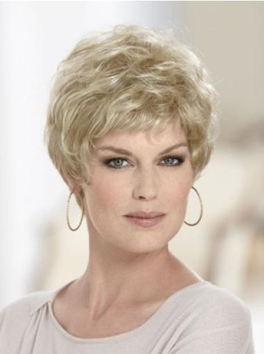 Blonde Comfortable Capless Wavy Synthetic Short Wigs