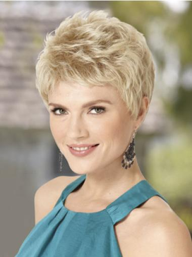 Blonde Soft Capless Wavy Synthetic Short Wigs
