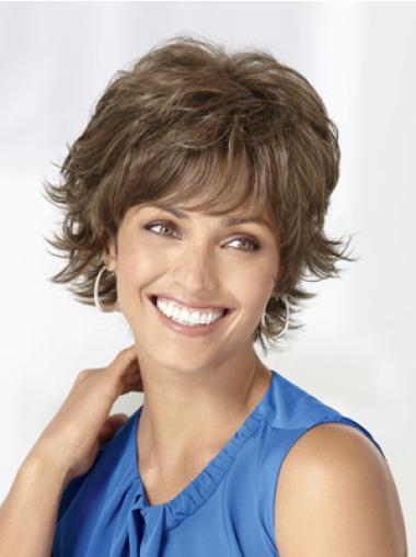 Brown Great Capless Wavy Synthetic Short Wigs