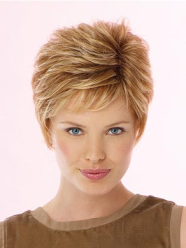 Blonde Classy Lace Front Wavy Synthetic Short Wigs