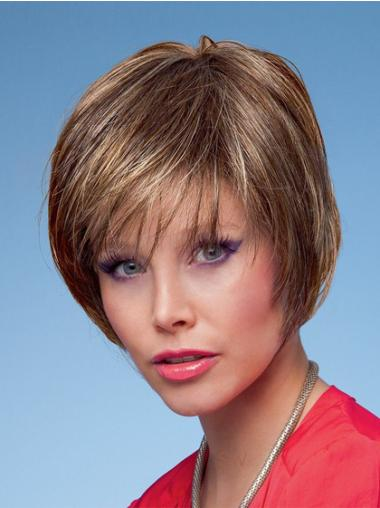 Brown Perfect Capless Straight Synthetic Short Wigs