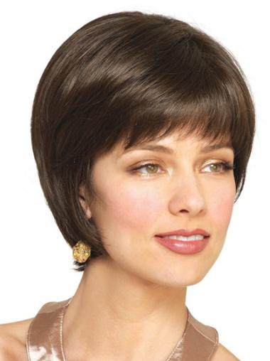 Straight Remy Human Hair Short Capless Brown Comfortable Wigs