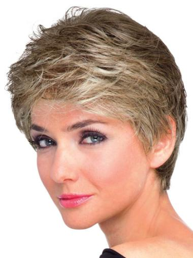 Wavy Synthetic Short Capless Brown Ideal Wigs