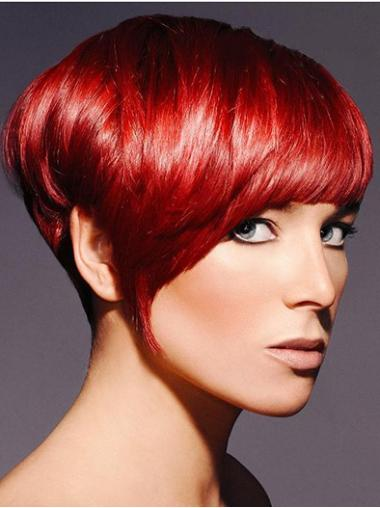 Straight Synthetic Short Capless Red Cheap Wigs