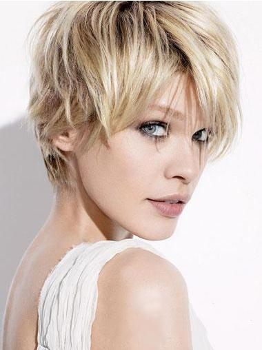 Straight Remy Human Hair Short Capless Blonde Suitable Quality Wigs
