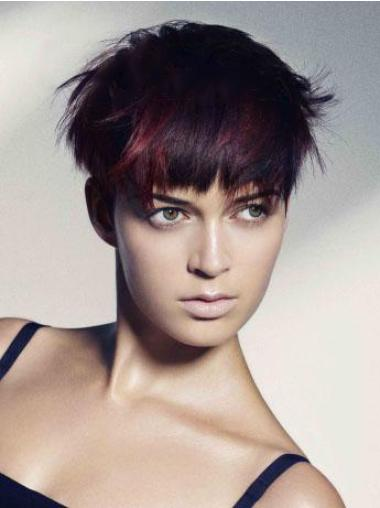 Straight Remy Human Hair Short Full Lace Red Trendy Wigs