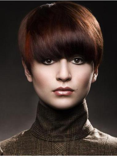 Straight Remy Human Hair Short Capless Auburn Sassy Wigs