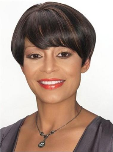 Straight Remy Human Hair Short Capless Brown Quality Wigs
