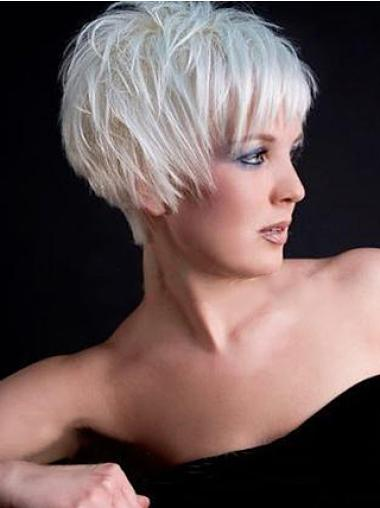 Straight Synthetic Short Capless Grey Affordable Wigs