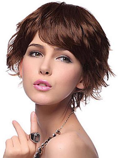 Wavy Synthetic Short Capless Auburn No-fuss Wigs