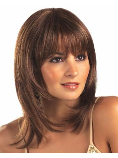 Medium Straight Lace Front Brown Graceful Wigs