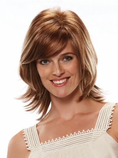 Medium Straight Capless Brown Stylish Wigs