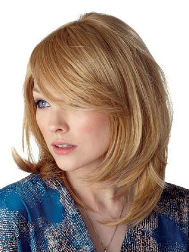 Medium Straight Capless Blonde Durable Wigs