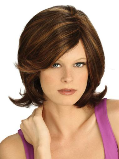 Medium Straight Lace Front Brown Sassy Wigs