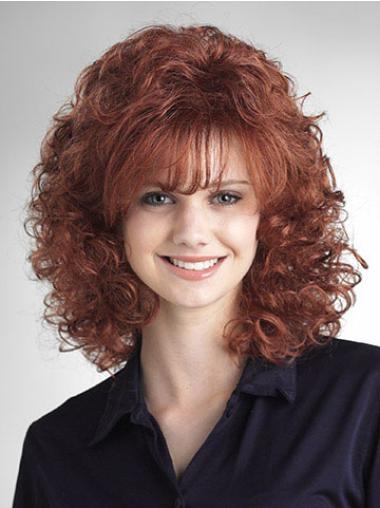 Medium Curly Capless Auburn Discount Wigs