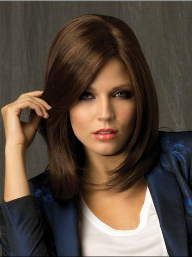 Medium Straight Lace Front Brown Classy Wigs
